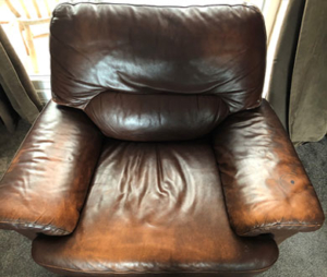 leather chair before cleaning and recolouring
